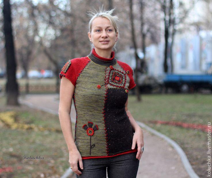 Купить Московская осень. - абстрактный, вязаная кофточка, теплая одежда, авторская работа, koluchka