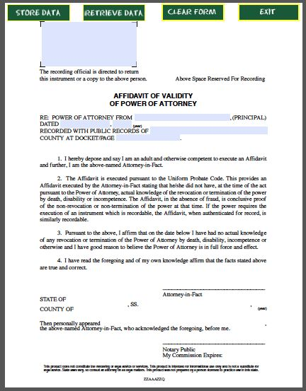 Affidavit of Validity of Power of Attorney Official Templates - example of a sworn affidavit