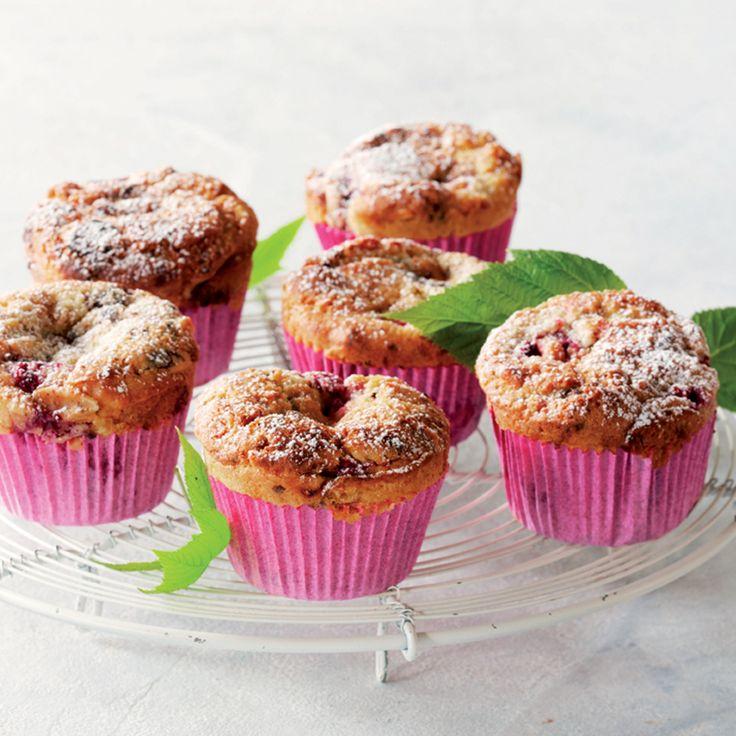 Hindbærmuffins med chokolade og mandler