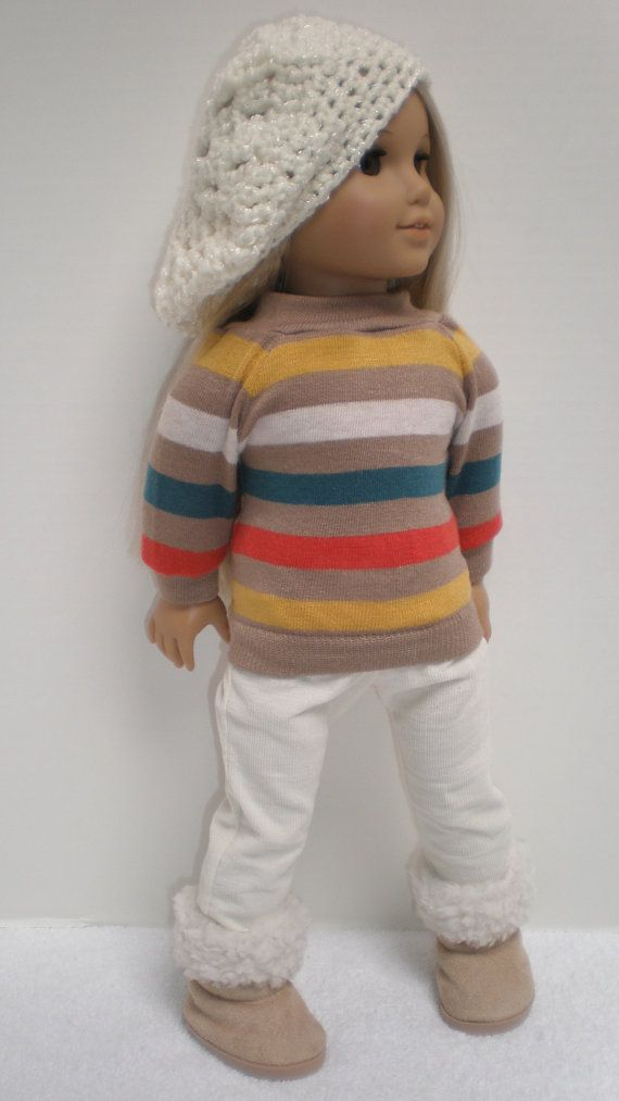 American Girl Doll Clothes -- Striped Pullover Top, Cream Skinny Jeans, Hat**, Boots** fits American Girl 18 inch doll