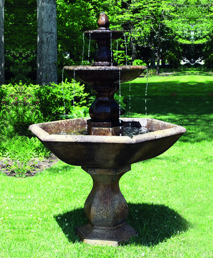 The 3 Tier Boca Hexagon Fountain Is A Premium Quality Cast Stone Fountain  Which Is Easy
