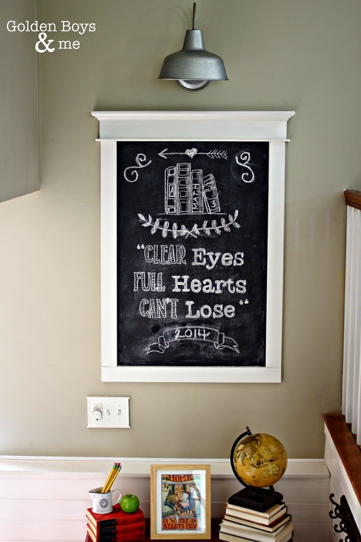 "Back to school chalkboard with Friday Night Lights quote ""Clear Eyes, Full Hearts, Can't Lose"" with Lowe's portfolio galvanized light"