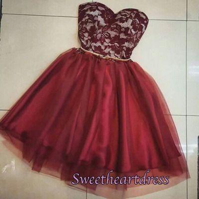 2016 cute burgundy lace organza sweetheart dress for teens, homecoming dress…