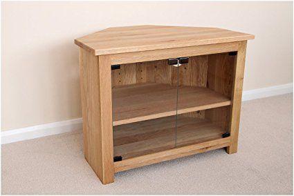 Roble mueble de esquina para televisor con puertas de cristal, soporte o gabinete, 1000mm con estante ajustable, ideal para el salón o sala de estar