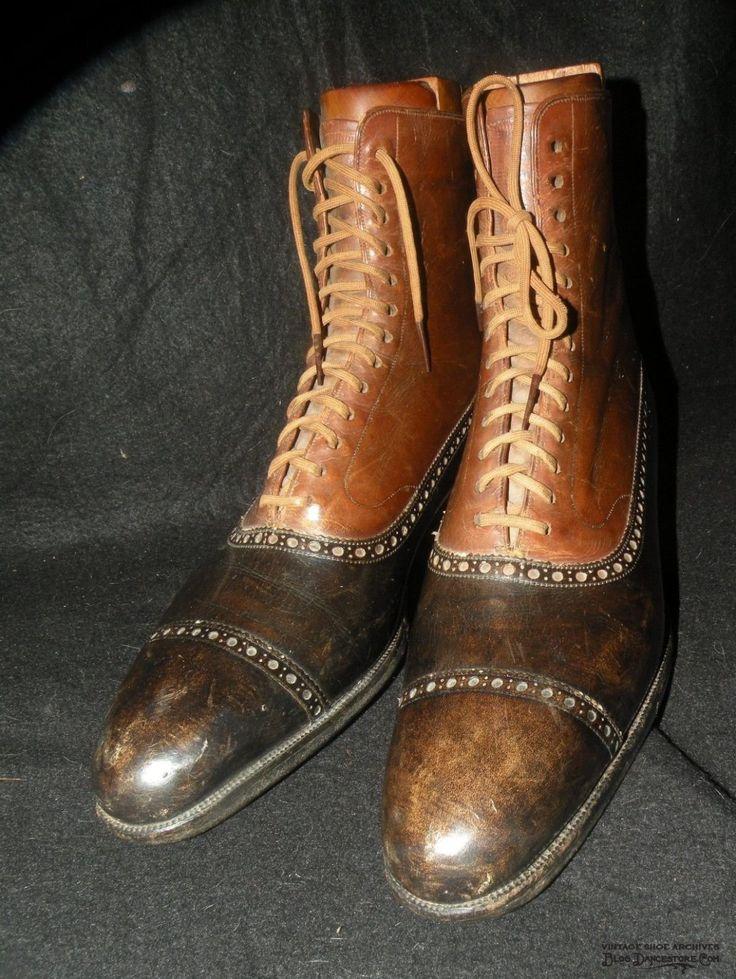1920s John Lobb Mens Captoe Boots with Perforations
