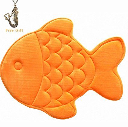 Hughapy Slow Rebound Memory Foam Children Bath Rug Christmas Fish Slip Resistant Coral Fleece Mat Doormat Carpet (Orange)