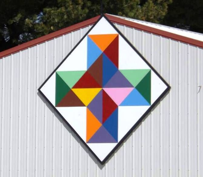 Colorful Cross Barn Quilt On Point Painted Barn Quilts