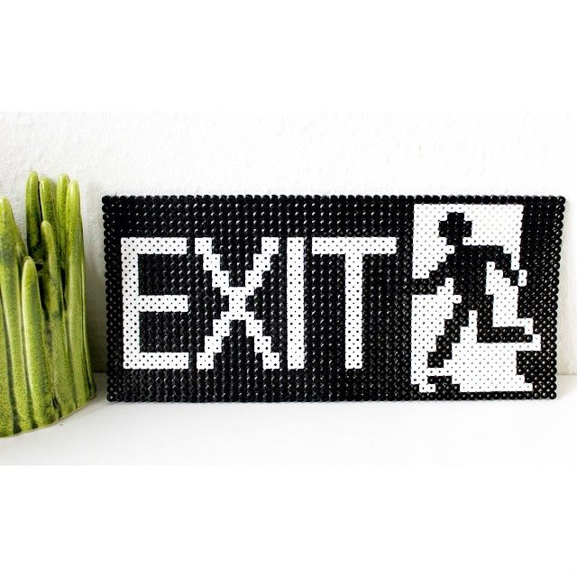 Exit sign hama perler beads by brineh