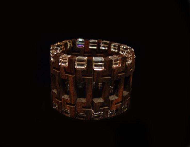Bracelet by Lisa Bodnaruk. Made of Ebony,and square Swarovski crystals.