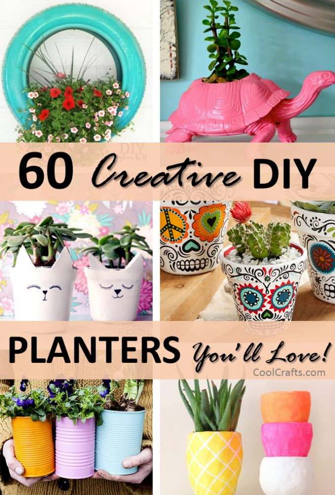 60 Creative DIY Planter Ideas, http://www.coolcrafts.com/diy-planters/