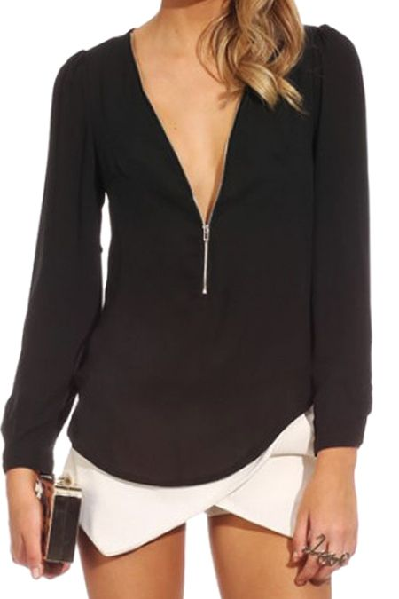 Solid Color Plunging Neck Zipper Blouse