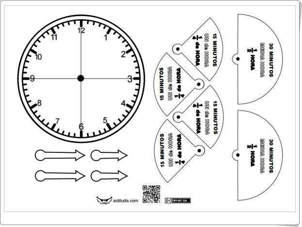 """Recursos didácticos para imprimir, ver, leer: """"Reloj. Medias y cuartos de hora"""" (Actiludis.com)"""