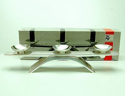 Verzilverde kandelaar in originele doos ontwerp Wilhelm Wagenfeld ca.1955 uitvoering WMF / Duitsland