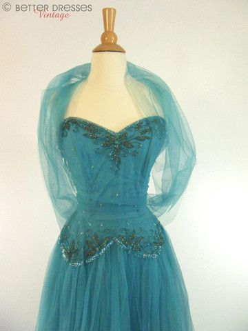 50s Teal Strapless Party Dress by Mollie Stone - sm, med
