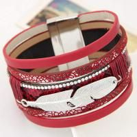 Feather Shape Decorated Multilayer Design Red