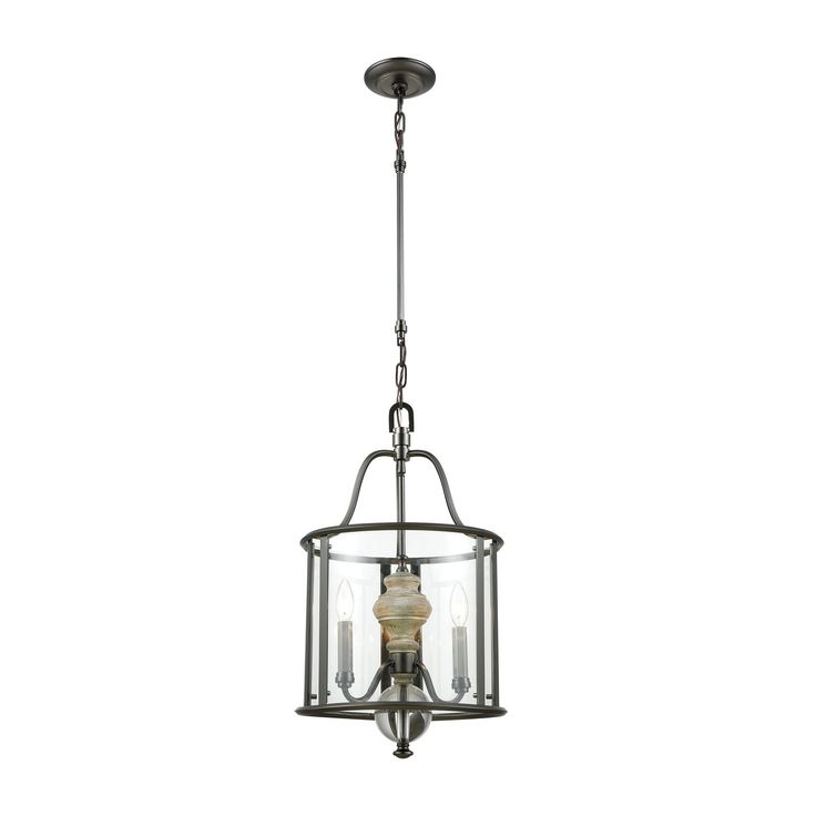 Neo Classica 3 Light Chandelier In Aged Black Nickel With Weathered Birch Finished Wood And Clear Crystal Ball