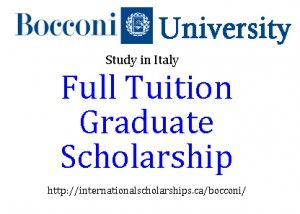 40 need-based scholarships to international students enrolling in a Master of Science Program at Bocconi.
