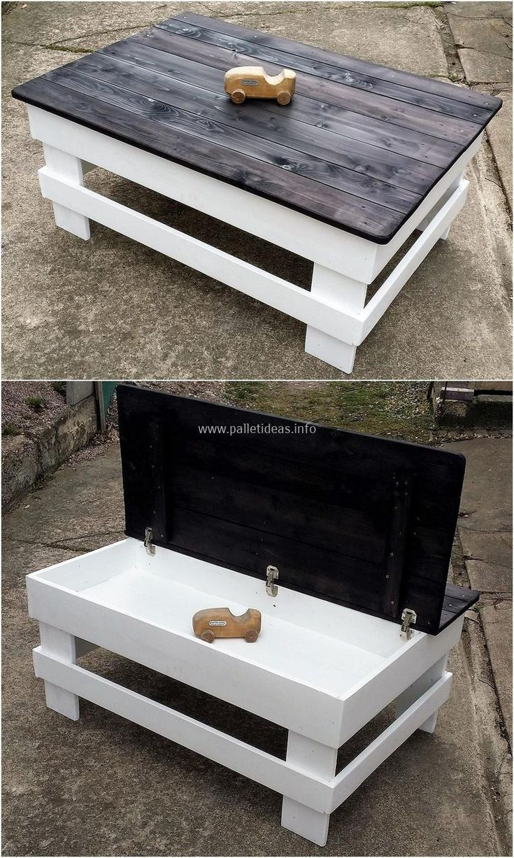 repurposed pallet table with storage