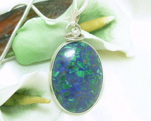 Malachite In Lapis Lazuli Gemstone Sterling Oval Pendant Necklace