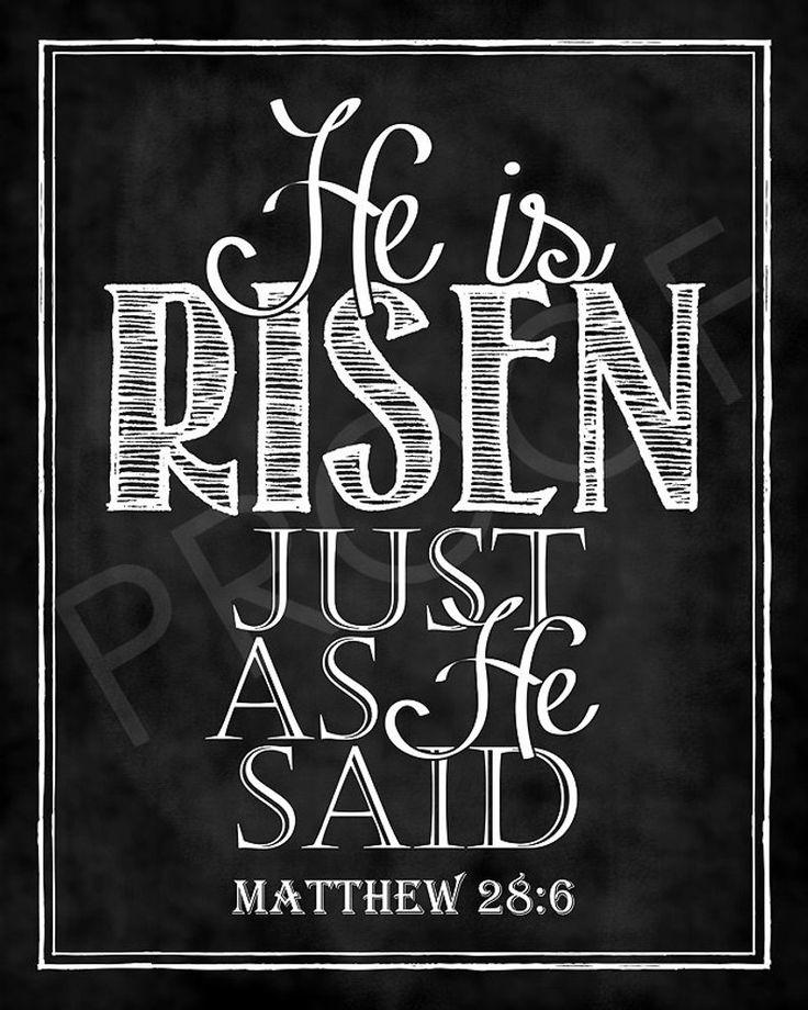 Easter Scripture Art – Matthew 28:6 Chalkboard Style
