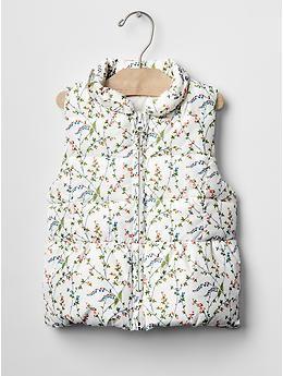 Floral ruffle-trim puffer vest