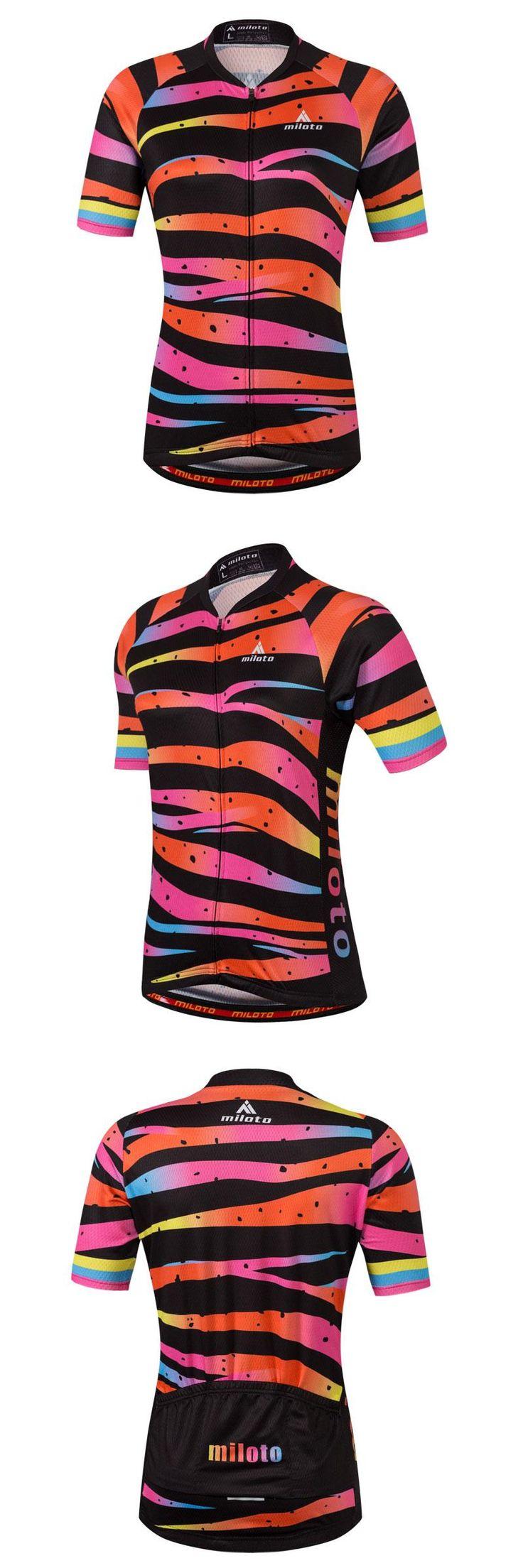 [Visit to Buy] Colorful Bike Women Shirts Cycling T-shirts Short Sleeve Full Zipper Ladies Mountain Bike Jerseys Antislip Sportswear For Riding #Advertisement