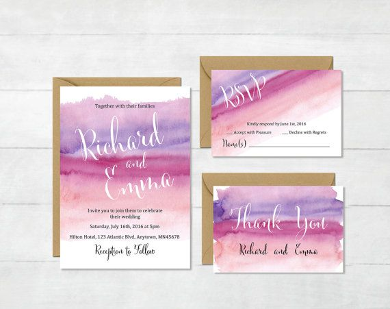 Purple Watercolor Wedding Invitation Suite, Printable Watercolor Wedding Invite, Watercolor RSVP Thank You Cards, Lilac, Download, 116-P