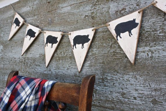 FREE SHIP Wood Pig Roast Swine Picnic BBQ Banner Bunting decor by TheUnpolishedBarn