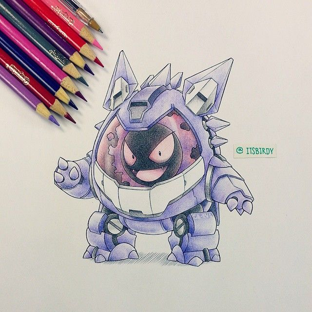 Gastly in a Gengar metal Suit. This Pin is AWESOME!!!