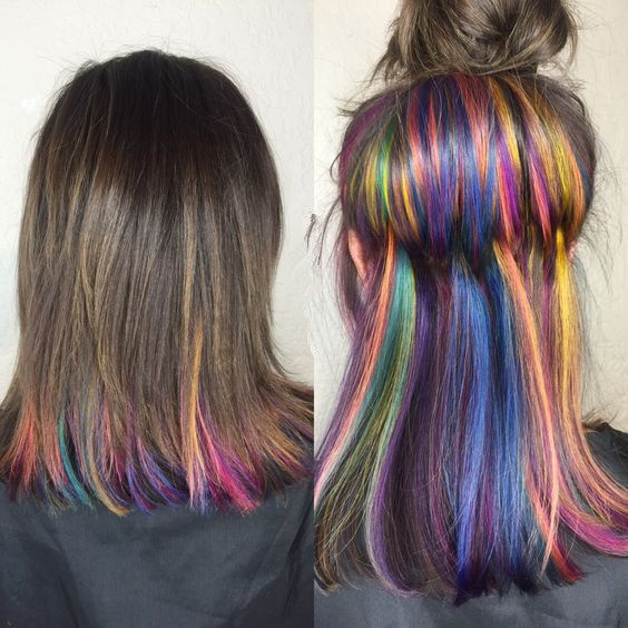 Highlight rainbow hairstyles, made by nail tip hair extensions.http://www.amazon.com/dp/B01DLR9AT0