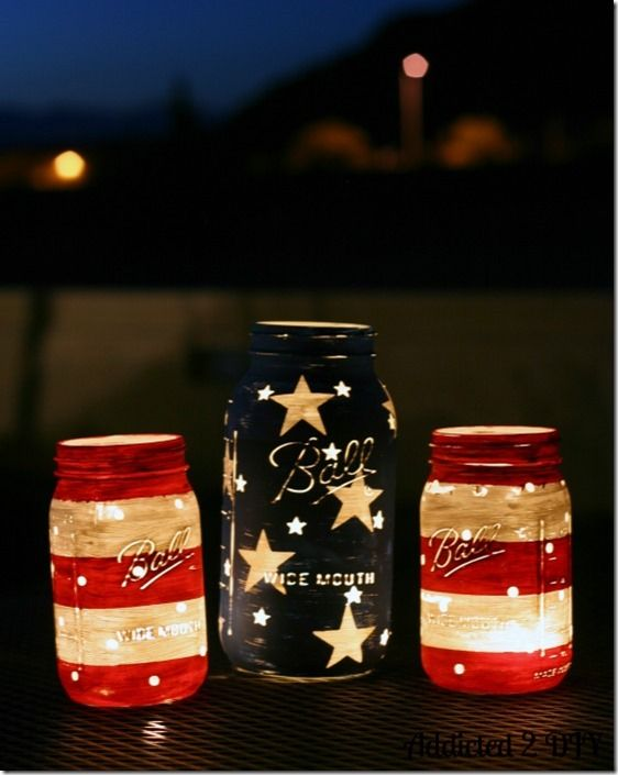 Stars & Stripes Mason Jar Lanterns