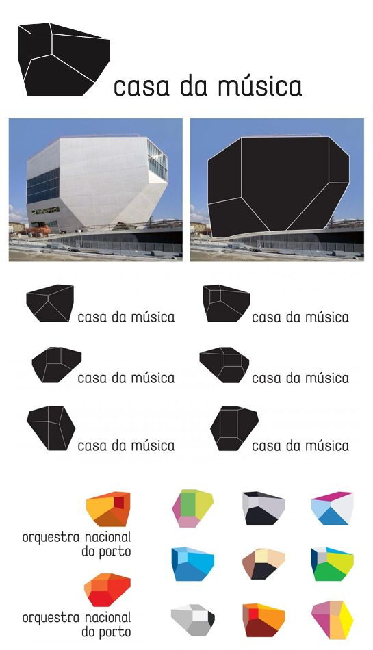 Client: Casa da Música  Designers: Sagmeister  Description: This identity is based upon the shape of the Casa da Música in Portugal, the building designed by Rem Koolhaas.