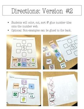 Number Sense: Number Webs 1-20 Cut & Paste Worksheets, NO PREP