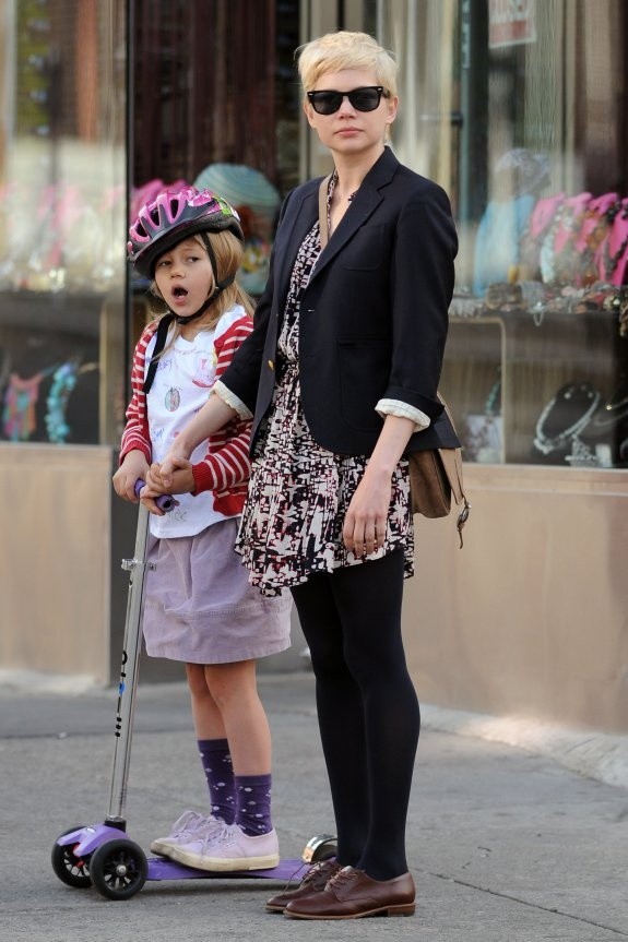 Michelle Williams with her and Heath Ledger's daughter Matilda out in NYC, April 14th