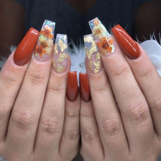 dbbef218e8 40 Super Fabulous Dried Flower Nail Art Designs; flower nails; dry flower  nails;