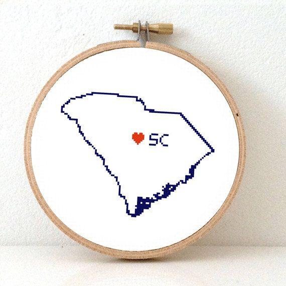SOUTH CAROLINA Map Cross Stitch Pattern. South Carolina art pattern. South Carolina ornament pattern with Columbia. SC decor. Wedding gift.