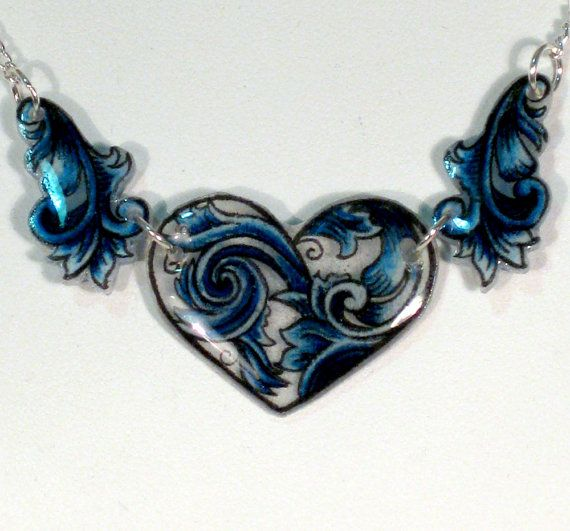 Hearts and Swirls Blue Shrinky Dink Necklace
