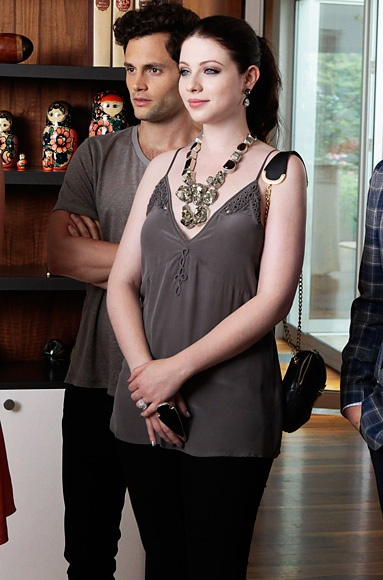 "Photo Gallery : InStyle.com What's Right Now Season 6, Episode 1: ""Gone Maybe Gone"" Georgina Sparks (Michelle Trachtenberg) wears a Joie tank top and Charles Albert necklace and ring."