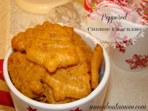 Another Use for Your Cookie Press - Peppered Cheese Crackers - http://www.aboutamom.com/2012/11/holiday-snacks-peppered-cheese-crackers.html