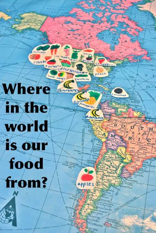 """Where is our food from? This is a project for young elementary students to discover where the foods they are eating come from. It can be found also in the """"Global Education Tool-Kit."""" It is a great way for students to study the different climates that effect plant growth in many parts of the world."""