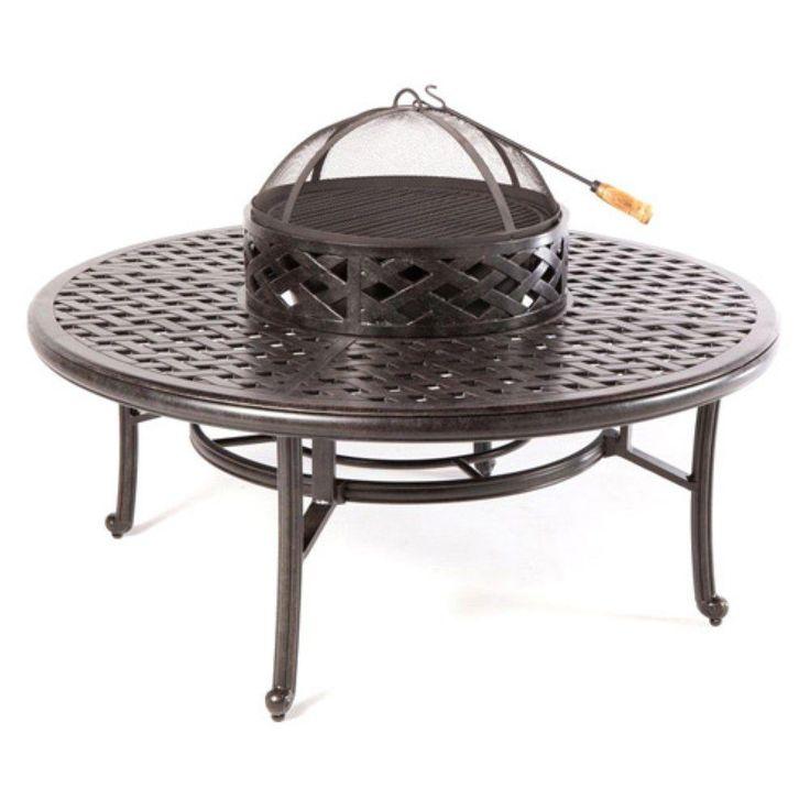 "Nassau Cast Aluminum Patio Fire Pit 52"" Ice Tea Insert Round Table Bronze"