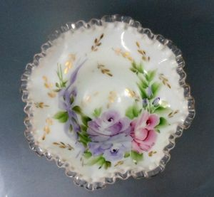 Fenton Silver Crest Milk Glass Bowl Hand Painted Charleton Lavender Roses Bows