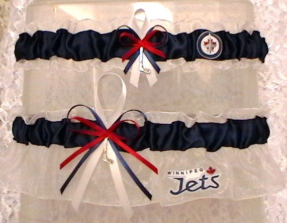 Winnipeg Jets NHL Wedding Garter Set....this is a must if/when I get married!