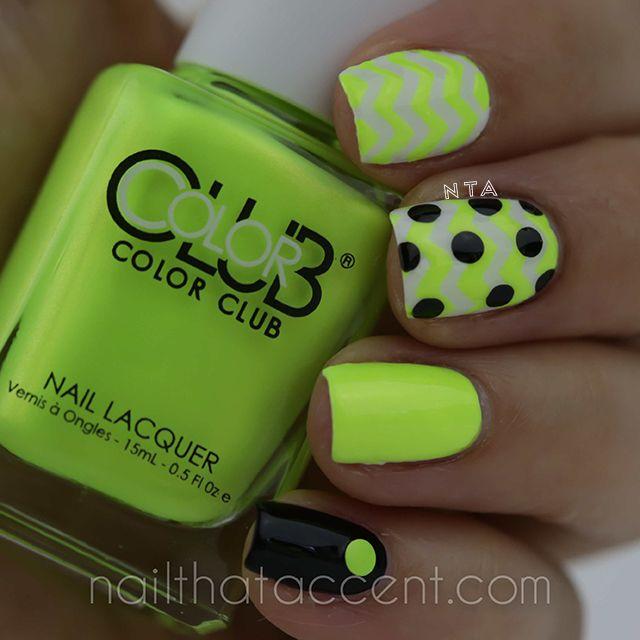 chevron nails, chevrons, chevron nail design, color club, summer poptastic, not so mellow yellow, neon nails, polka dot nails, neon, neon yellow nails, neon yellow and black, chevron nail art