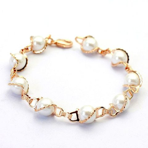 18K Rose Gold Plated Rigant Simulated Pearl Bracelet | Stylish Beth