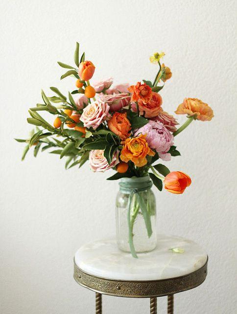gold-orange pink floral