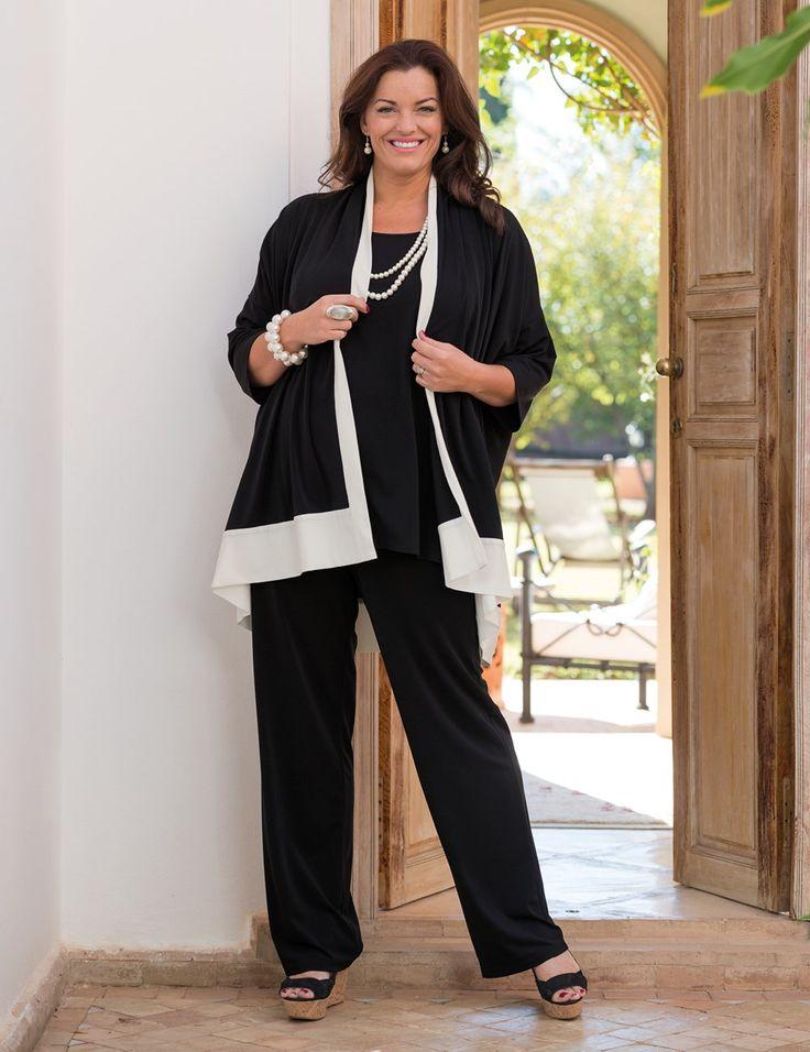 Box+2+black/cream+crepe+jersey+two+tone+kimono+jacket,+vest+and+wide+trouser
