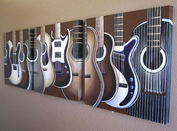 "Guitar Paintings on Canvas - set of three 20"" x 20"" paintings MADE TO ORDER. $340.00, via Etsy."