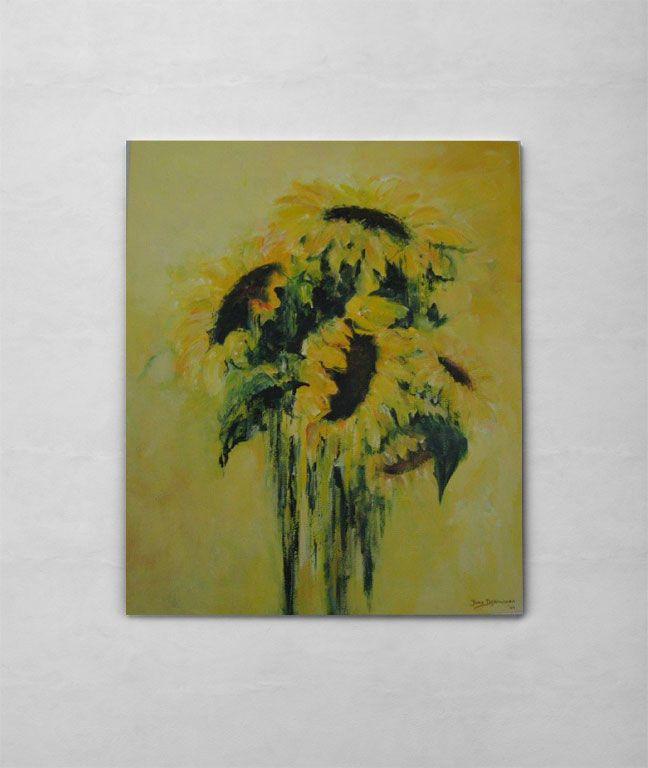 Een klassieker! Deze zonnebloemen brengen je terug naar vakantie | Zonnebloemen | Galerie Frisselstein | #sunflower #zonnebloem #geel #schilderij #painting