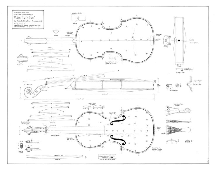 """Violin """"Le Messie"""" by Antonio Stradivari, Cremona 1716 Draw by John Pringle, 1980 The Ashmolean Museum, Oxford"""
